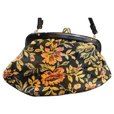 Floral Tapestry Carpet Bag Purse Red Leather Lining