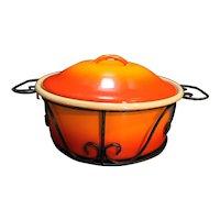 Flame Orange Enamel Casserole Dish Black Cradle Holder