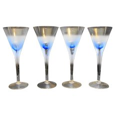 Block Rainy Day Clear Frosted Cut to Blue Wine Glasses Set of 4
