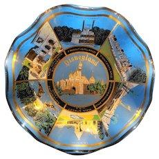 Disneyland Bent Glass Ruffle Bowl Vintage