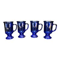 Anchor Hocking Cobalt Blue Irish Coffee Footed Mugs Set of 4