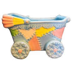 Baby Carriage Pram Baby Planter Pottery Blue Pink Yellow