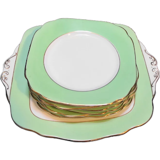 English China Dessert Set Spring Green White Square Cake Plate 8 Small Plates
