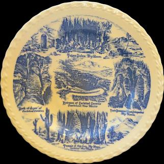 Vernon Kilns Blue Transferware Carlsbad Caverns New Mexico Souvenir Plate