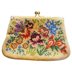 Micro Petit Point Needlepoint Floral Small Purse Kiss Clasp