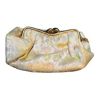 Gold Satin Embroidered Floral Small Evening Bag