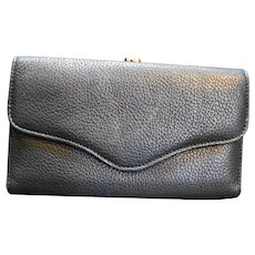 Princess Gardner Navy Blue Wallet French Clutch Pebbled Leather