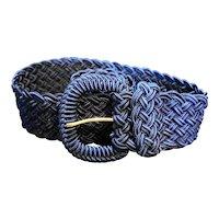 Midnight Blue Satin Woven Braided Cord Belt Wide