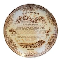 South Dakota Mt Rushmore Brown Transferware Souvenir Plate