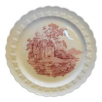 Taylor Smith Taylor Castle Pink Red Transferware Dinner Plate