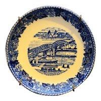 Sault Ste Marie Jonroth Greenfield Pottery Staffordshire Blue Transfer Butter Pat Coaster