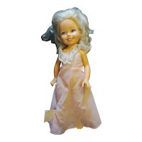 """TOMY Kimberly 17"""" Blond Doll 1980s Pink Evening Gown"""