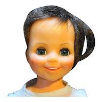 "Ideal Toys Mia Crissy Family 15"" Dark Brown Hair Grow Doll 1970 White Dress"