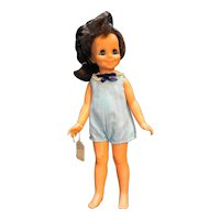 """Ideal Toys Mia Crissy Family 15"""" Dark Brown Hair Grow Doll 1970 Blue Outfit"""