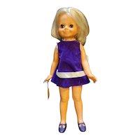"""Ideal Toys Velvet Crissy Family 15"""" Blond Hair Grow Doll 1969 Purple Dress"""