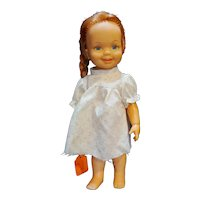 """Ideal Toys Doll Cinnamon Red Hair Grow White Dress Pink Flowers 12"""" 1971"""