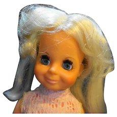 """Ideal Toys Velvet Crissy Family 15"""" Blond Hair Grow Doll 1969 Pink White Dress"""