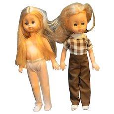 """Ginny Vogue Dolls Pair 1980s 8"""" Blond"""