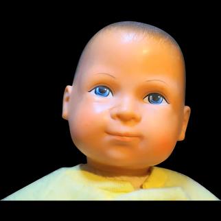 Gatabox Vinyl Baby Doll Brown Hair Cloth Body 1984