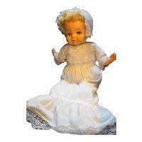 Horsman 1967 Vinyl Cloth Baby Doll White Dress Bonnet Blond Hair