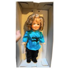"""Shirley Temple Ideal Doll 1982 Vinyl 8"""" Blue Black Outfit WIth Box"""