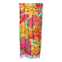 Echo Bright Floral Long Silk Scarf Pink Yellow Green