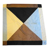 Worthington Color Block Silk Twill Scarf Brown Black Cream Blue