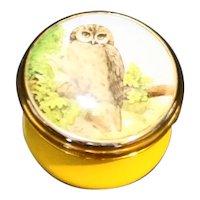 Halcyon Days Enamels Owl Lid Yellow Base Tiny Trinket Pill Snuff Box Screw Lid