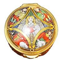 Staffordshire Enamels Christmas 1995 Trinket Pill Box Angels Chipped Lid