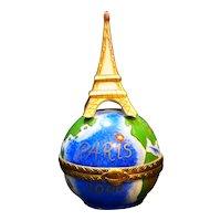 Rochard Limoges France Petit Main Trinket Box Paris 2000 Eiffel Tower Globe