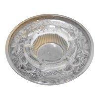 Satin Frosted Glass Pressed Strawberries Round Ashtray