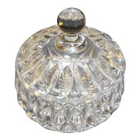 Cut Crystal Oval Marquis Cut Small Covered Dish