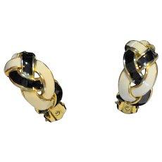 Black White Enamel Braided Twist Hoop Clip Earrings