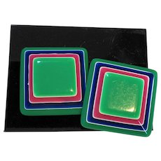Green Blue Pink Laminated Layered Lucite Beveled Square Earrings