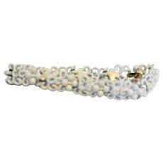 Crown Trifari White Enamel Link Bracelet Floral