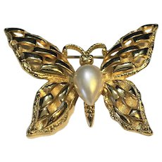 Lady Remington LR Signed Gold Tone Faux Pearl Butterfly Pin