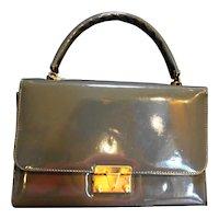Gray Patent Structured Box Purse Handbag Vintage