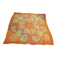 Vera Neumann Orange Yellow Floral Chiffon Scarf 1960s Ladybug Signature