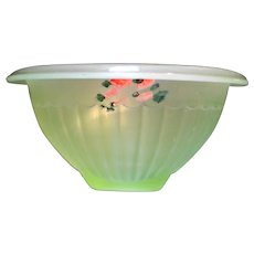 Green Satin Depression Glass Rolled Rim Small Ribbed Mixing Bowl