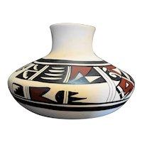 Hopi Pottery Mesa, AZ Signed Polychrome White Slip Jar