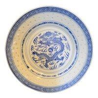 Jingdezhen Blue White Rice Grain Dragon Porcelain Plate 9 IN