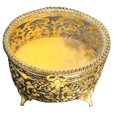 Gold Filigree Ormolu Oval Box Casket Glass Lid
