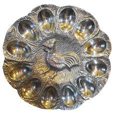 Cast Aluminum Chicken Rooster Egg Plate