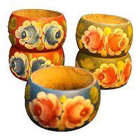 Hand Painted Floral Wood Napkin Rings Set of 5