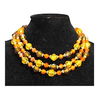 W Germany Gold Orange Brown Faceted Lucite Beads Necklace