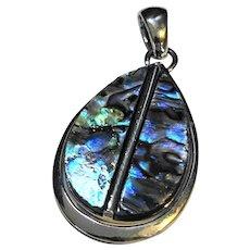 Blue Green Abalone Teardrop Pendant