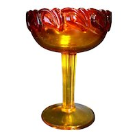 Tiara Exclusives Sunset Amberina Leaf Tall Compote