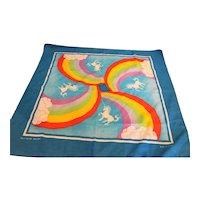 Unicorn Rainbow Cotton Scarf Bandana Made in USA 1980s-90s