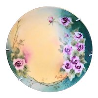 """Purple Roses Green Yellow Wash Hand Painted Porcelain Plate 7"""""""