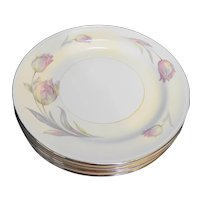 Homer Laughlin Eggshell Nautilus Tulip Dinner Plates Set of 8